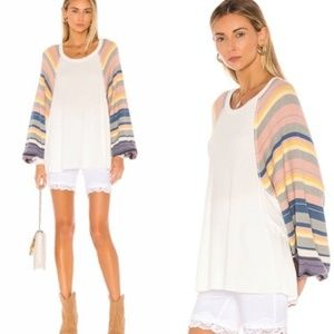 Free People Rainbow Dreams Henley Top Thermal L